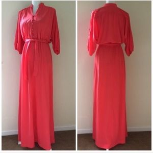 Vintage 70's Coral Pink Belted Maxi Dress